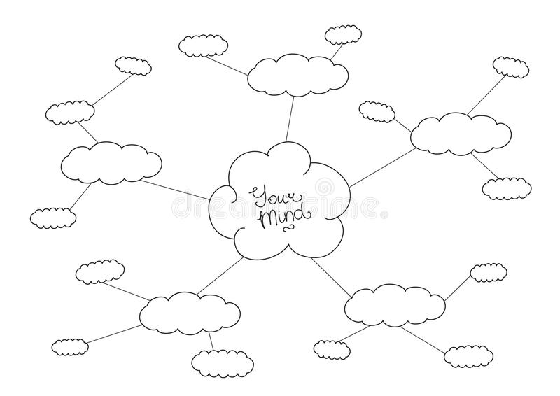 Mindmap, hand drawn scheme infographic design. Hand drawn black and white mindmap design vector illustration