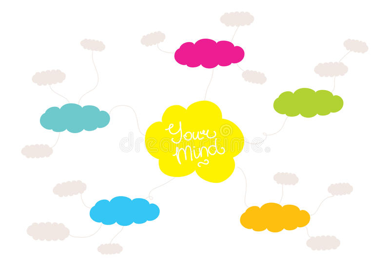 Mindmap, hand drawn scheme infographic design. Colorful mindmap design concept with clouds and space for your content stock illustration