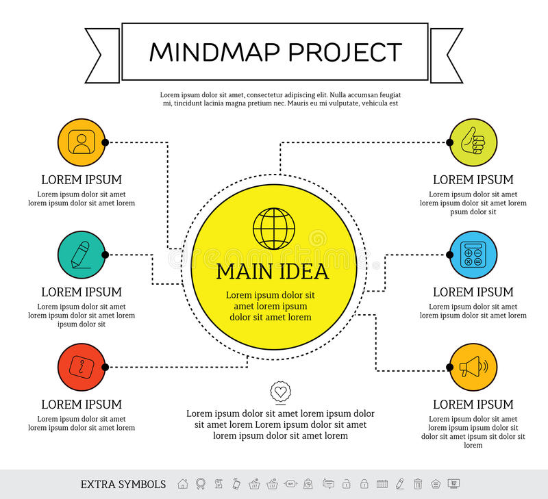Mindmap, scheme infographic design concept. With circles and icons royalty free illustration