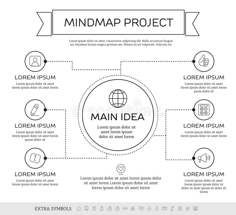 Mindmap, scheme infographic design concept. Mindmap infographic design concept with circles and icons royalty free illustration