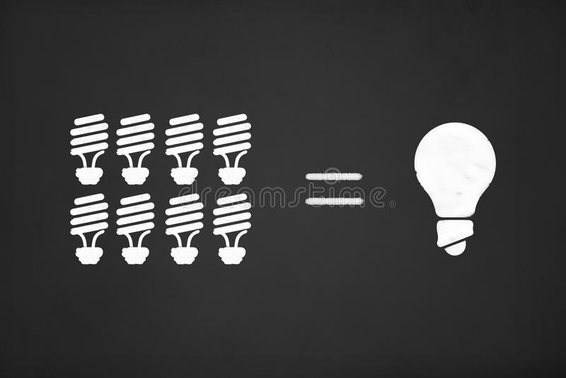 Mindre energibegrepp på kritabräde royaltyfri illustrationer
