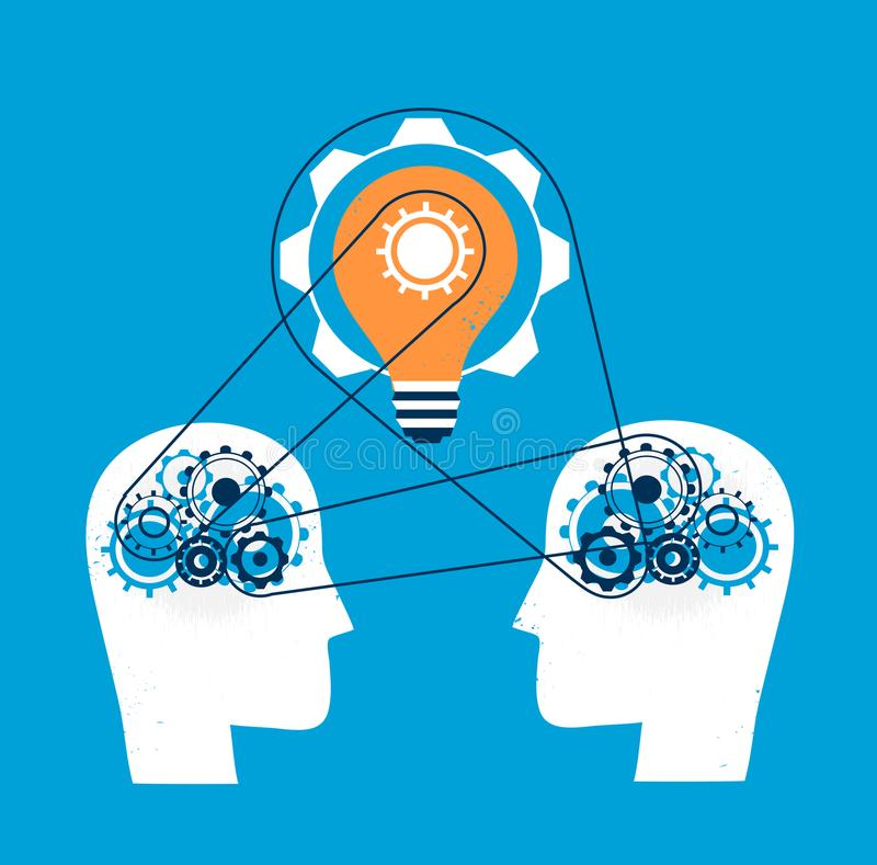 Minds work together for a great idea of business stock illustration