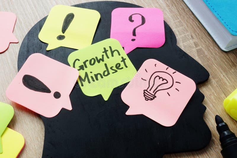 Mindset do crescimento escrito em uma vara do memorando foto de stock
