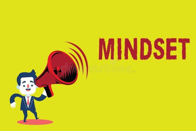 Mindset do texto da escrita O grupo estabelecido significado do conceito de atitudes guardou por alguém a atitude positiva ilustração stock