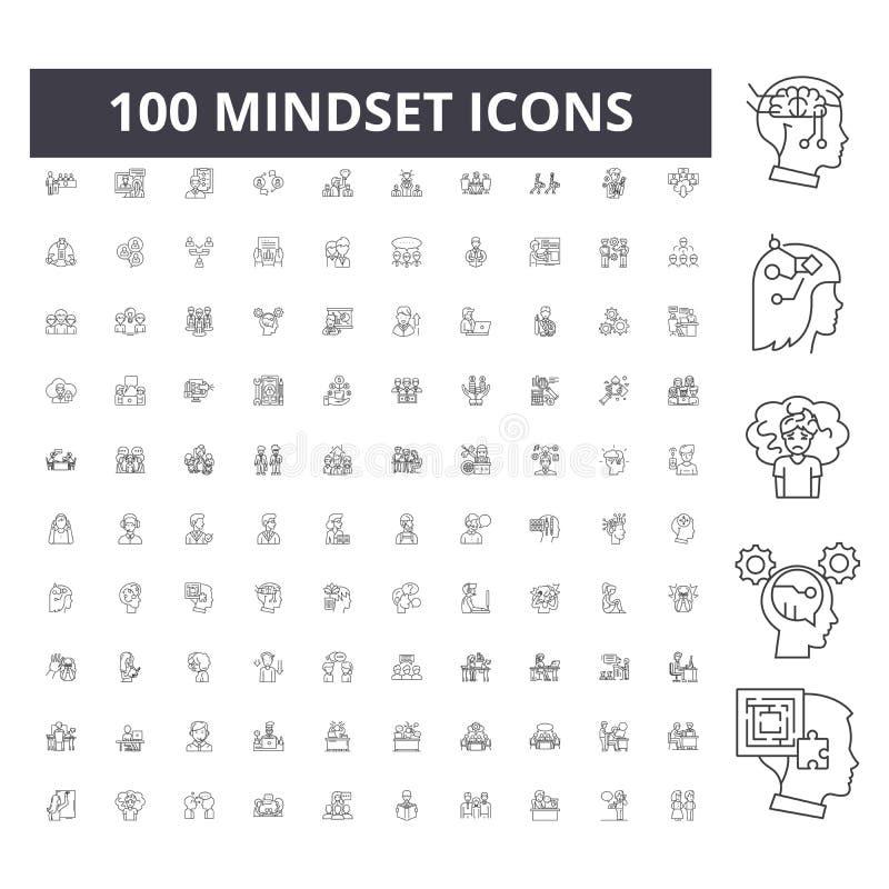 Mindset line icons, signs, vector set, outline illustration concept stock illustration