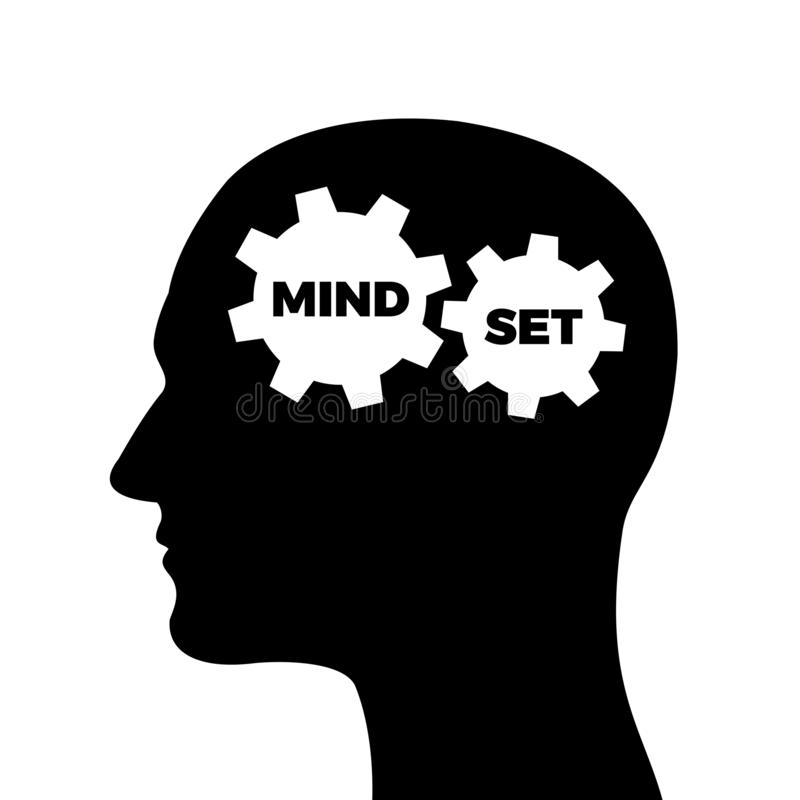Mindset / mind set. Mental and psychological attitude in head of the man and human. Vector illustration vector illustration