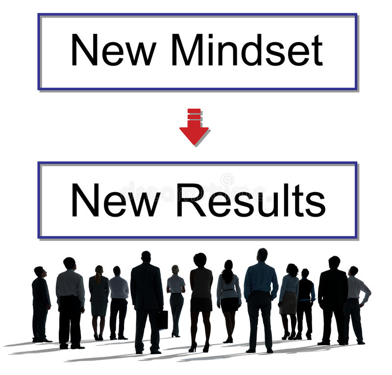Mindset oposto ao conceito de pensamento da negatividade da positividade fotos de stock royalty free