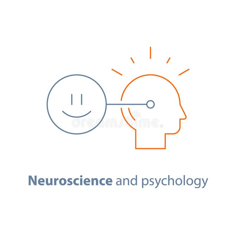 Mindset positivo, conexão mental, conceito emocional da inteligência, neurociência e psicologia, ícone do vetor ilustração do vetor