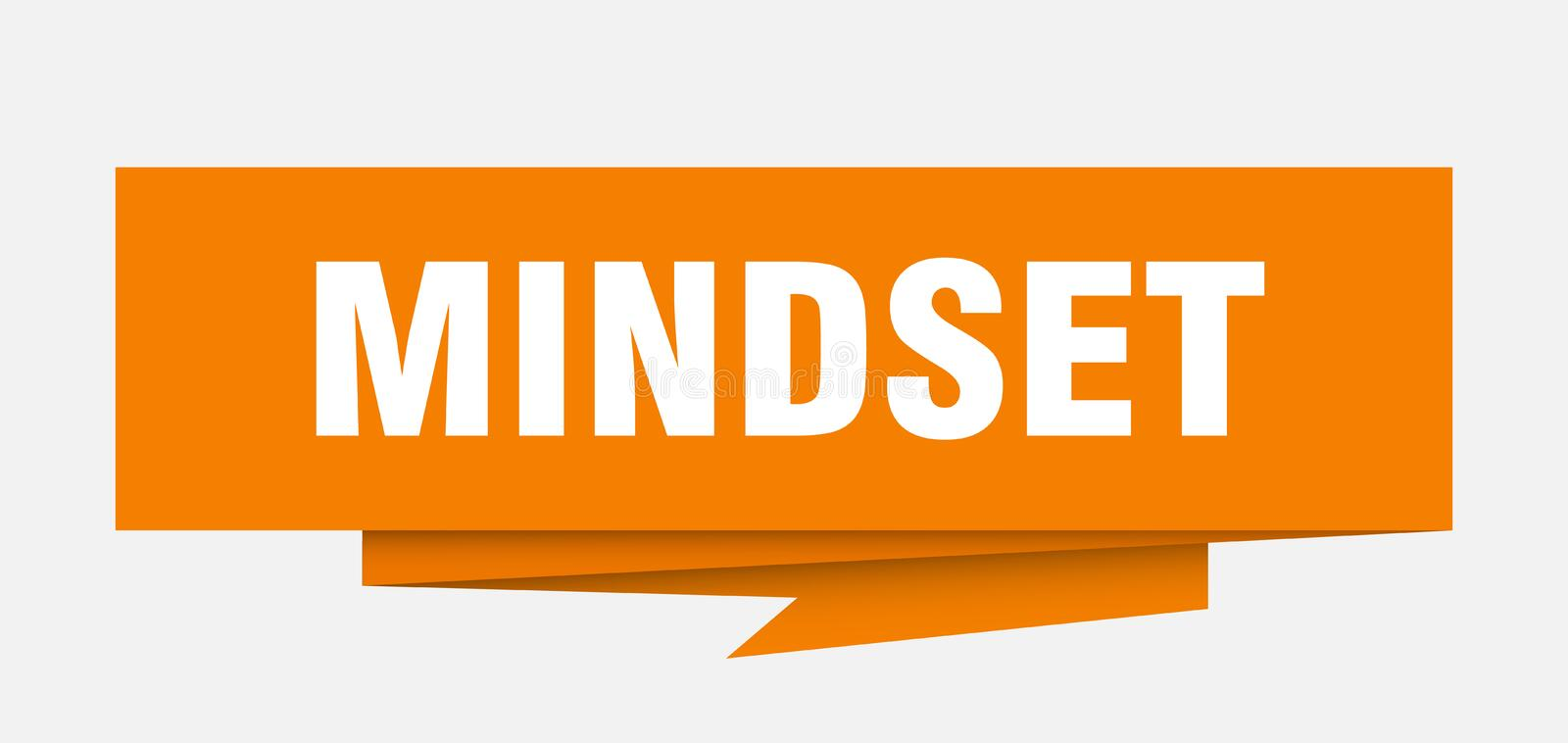 Mindset. Sign.  paper origami speech bubble.  tag.  banner stock illustration