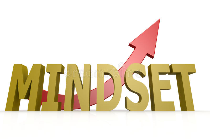 Mindset word with red arrow. Image with hi-res rendered artwork that could be used for any graphic design royalty free illustration
