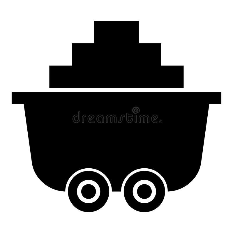 Mine cart or trolley of coal icon black color illustration flat style simple image stock illustration