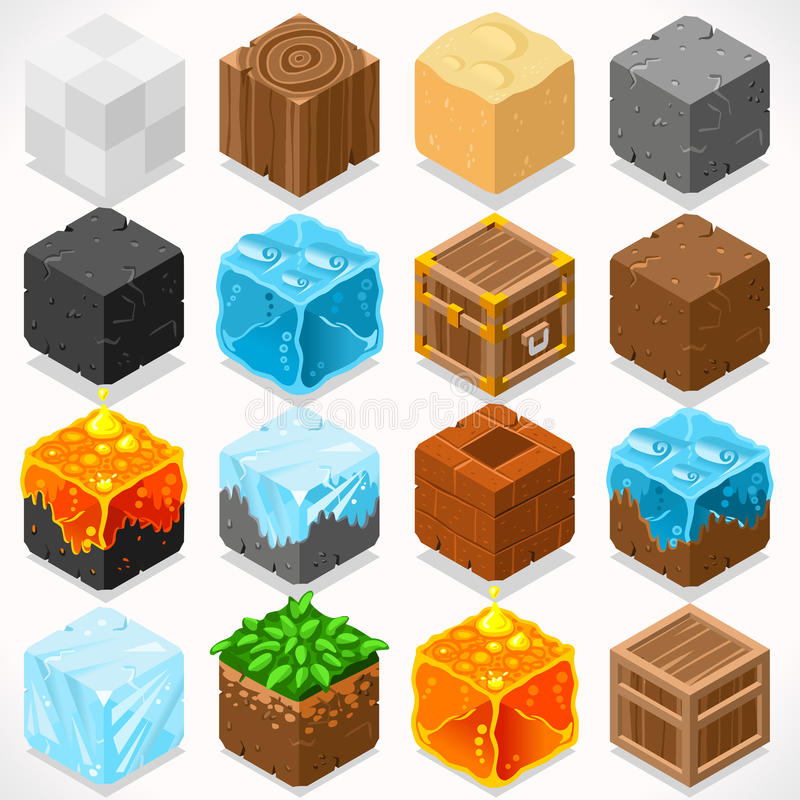 Mine Cubes 03 Elements Isometric stock illustration