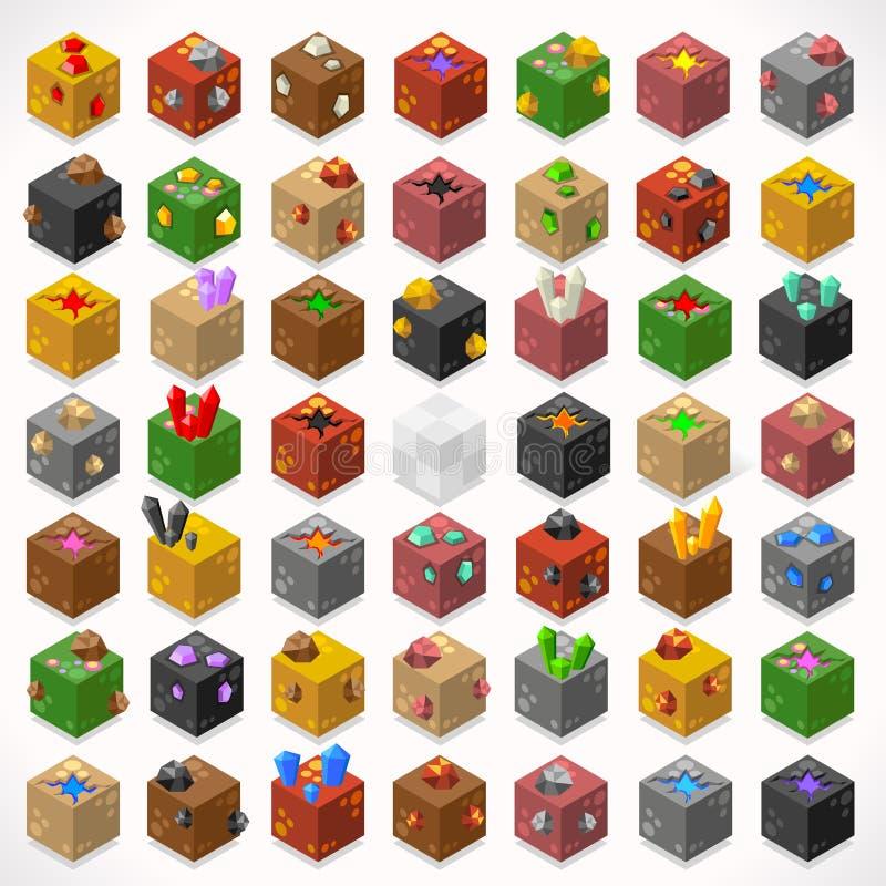 Mine Cubes 02 Elements Isometric. 3D Flat Isometric Mine Cubes Treasure Box Gem Stone Kit Ruby Gold Sapphire Diamond Lava Puddle Elements Icon Mega Set stock illustration