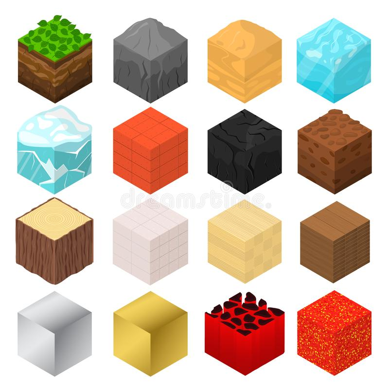 Mine Cubes Signs 3d Icon Set Isometric View. Vector stock illustration