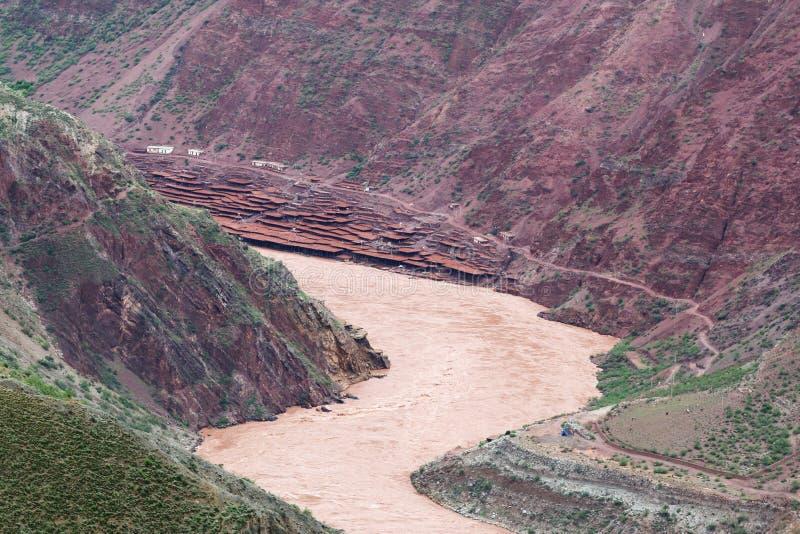 Mine de sel du sel du Tibétain du Thibet image libre de droits