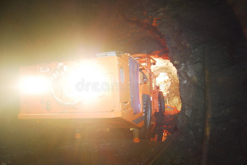 Mine drilling machine. Inside of a mine stock photos