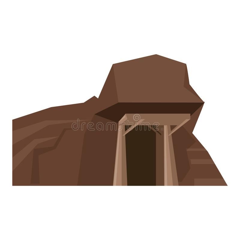 Mine with entrance scenery isolated cartoon. Vector illustration graphic design royalty free illustration