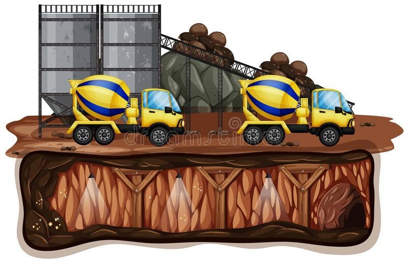 Mine Landscape and Yellow Truck vector illustration