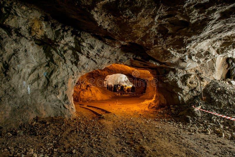Mine lit. Spectacular zinc mine in disuse stock image