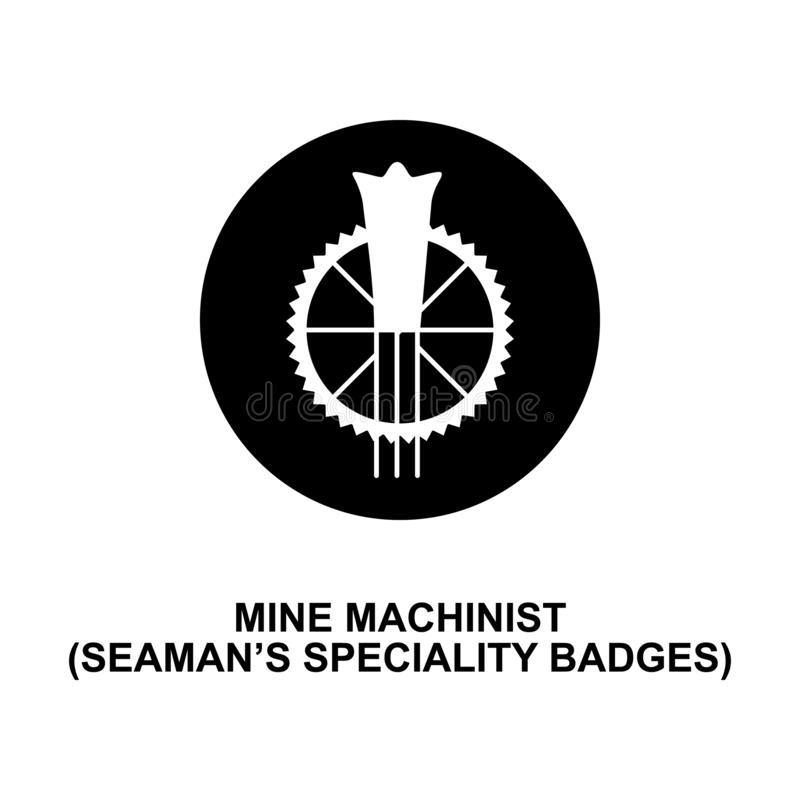 Mine machinist seaman speciality badge rank icon. Element of Germany army rank i. Con on white background stock illustration