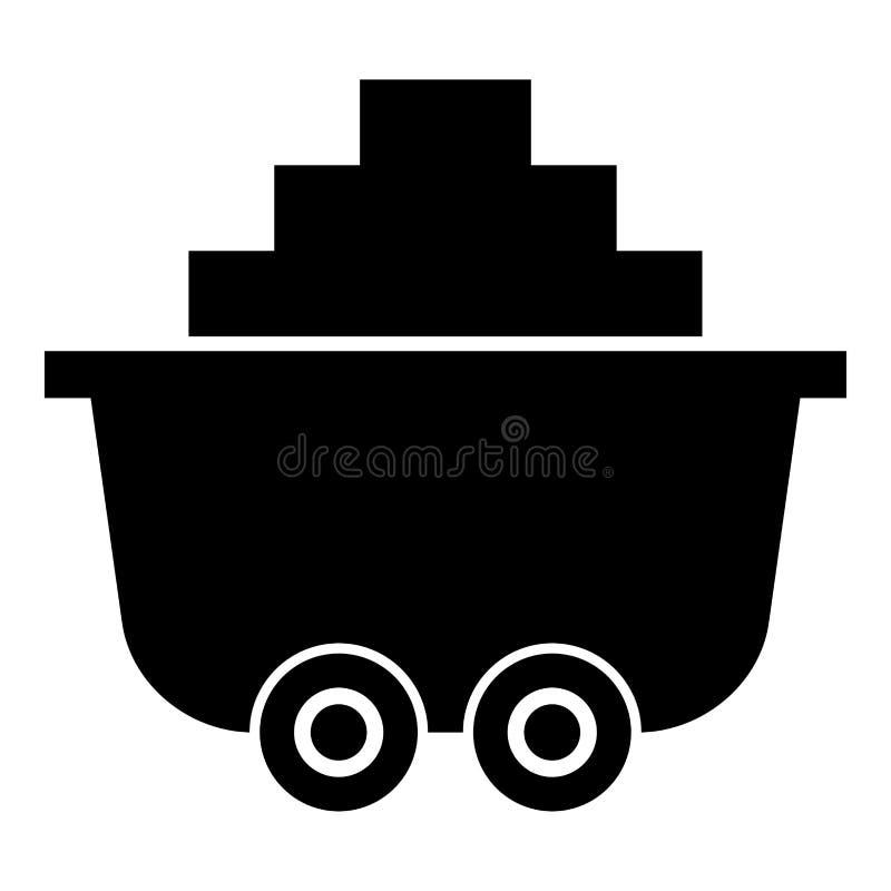 Mine o carro ou o trole da imagem simples do estilo liso da ilustração de cor do preto do ícone de carvão ilustração stock