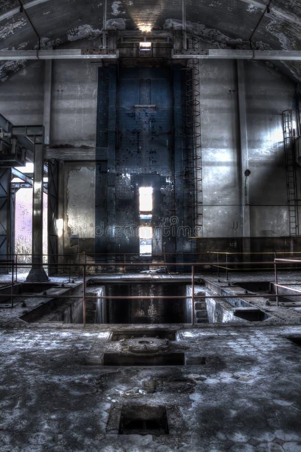 Mine pit trollay repair station main hall stock image