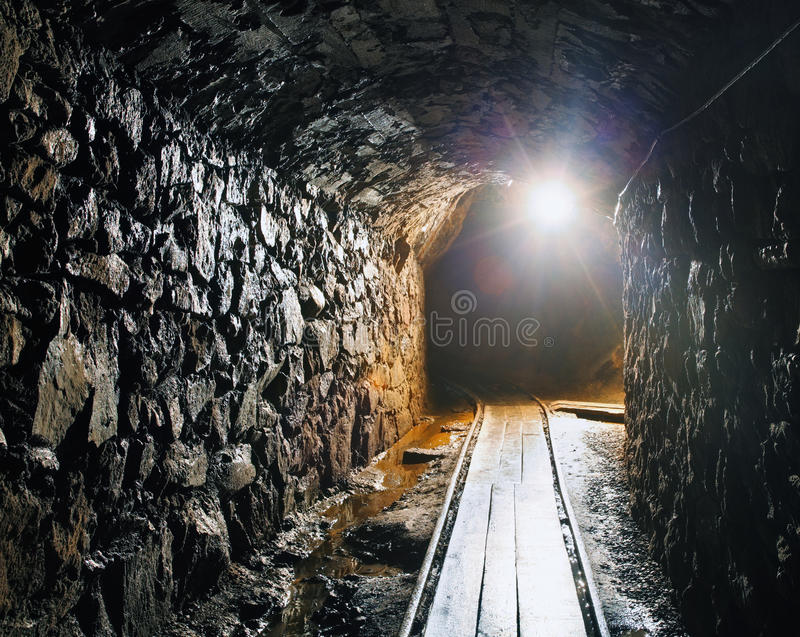 Mine with railroad track royalty free stock photography