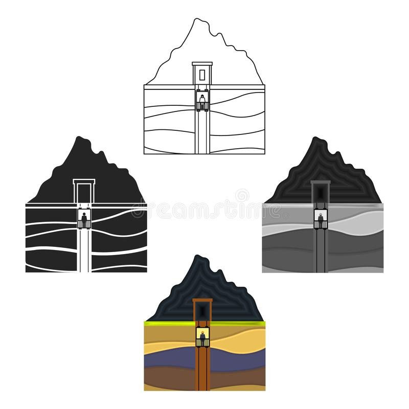 Mine shaft icon in cartoon style isolated on white background. Mine symbol stock vector illustration. Mine shaft icon in cartoon style isolated on white vector illustration