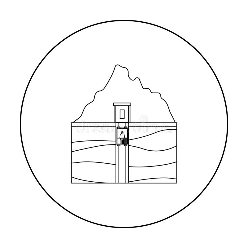 Mine shaft icon in outline style isolated on white background. Mine symbol stock vector illustration. Mine shaft icon in outline style isolated on white royalty free illustration