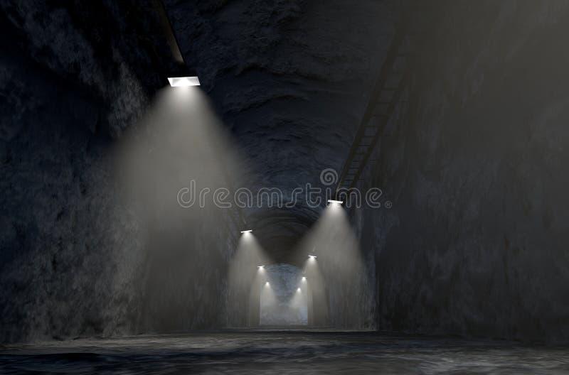 Mine Shaft. A look down the shaft of a rock mine spotlit by lights. 3D render stock illustration