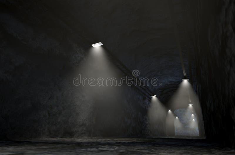 Mine Shaft. A look down the shaft of a rock mine spotlit by lights. 3D render royalty free illustration