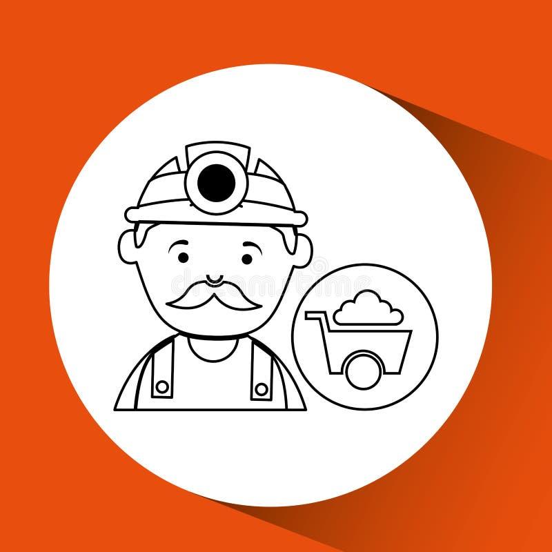 Mine worker pickaxe with wheelbarrow stock illustration