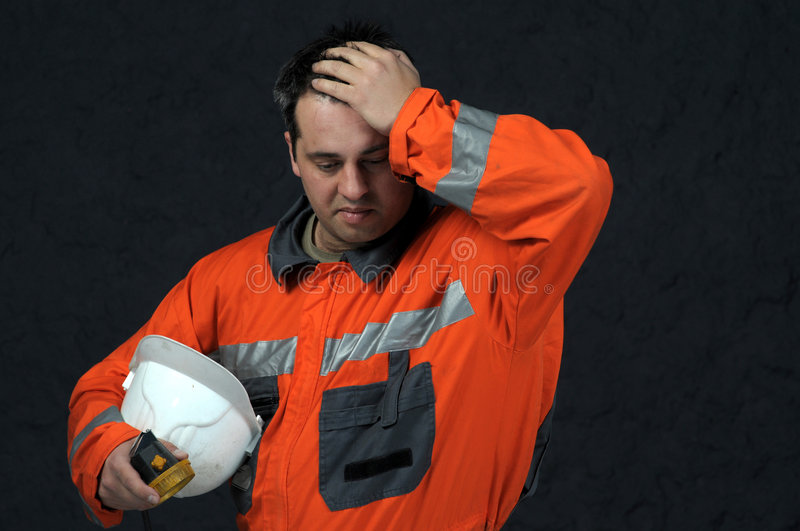 Mine worker sweeping royalty free stock photo