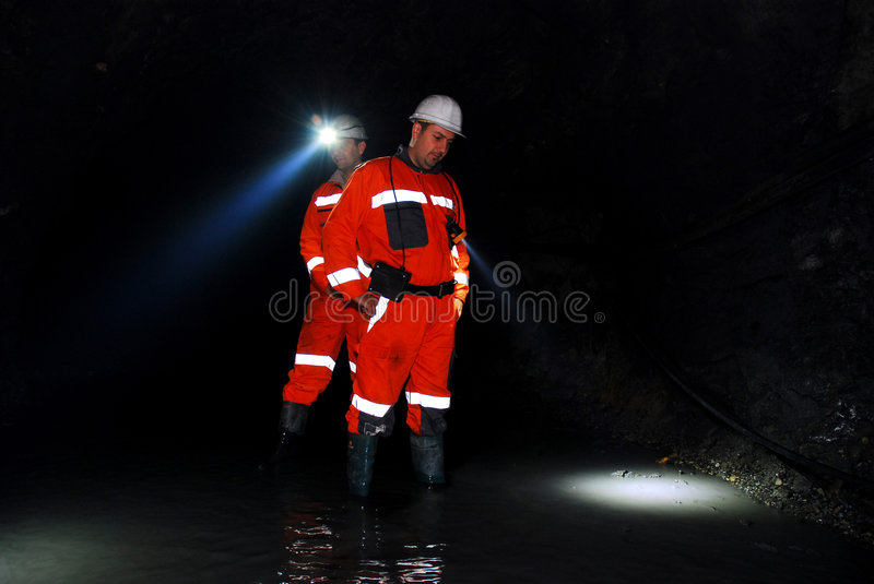 Mine workers royalty free stock photo