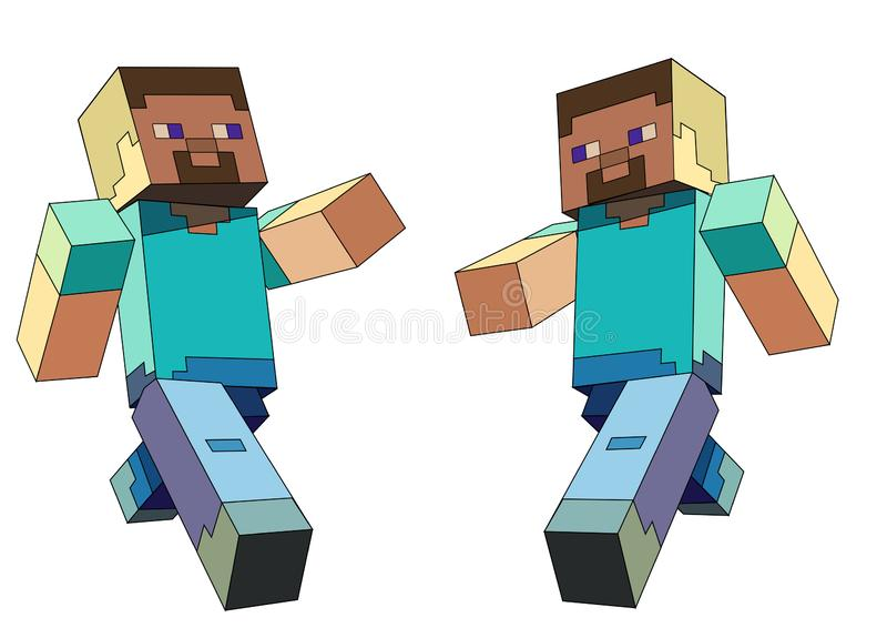 Minecraft character. The minecraft online game with the main character named Steve