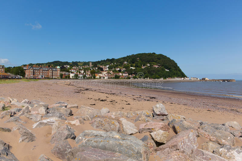 Minehead Somerset England UK beach and seafront towards the harbour in summer on a beautiful day. Minehead Somerset England UK beach and seafront towards the stock photo