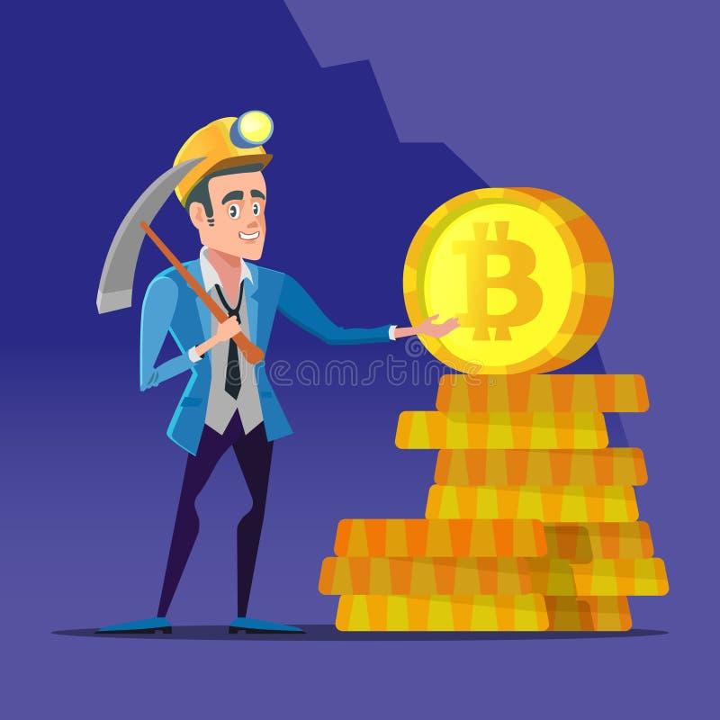 Mineiro bem sucedido de Bitcoin dos desenhos animados com picareta e as moedas douradas Conceito cripto do mercado de moeda ilustração stock