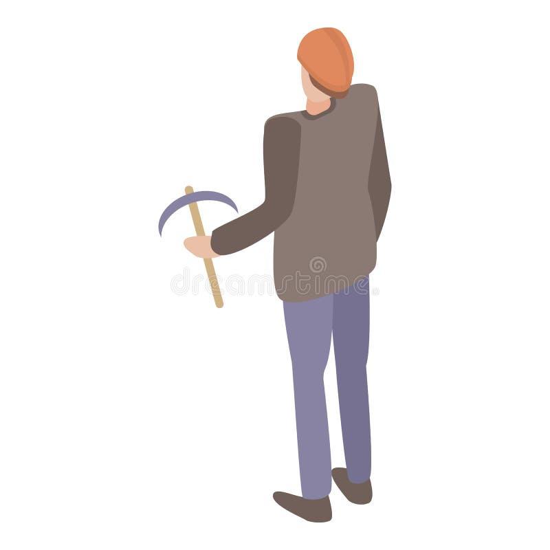 Mineiro com um ícone da picareta, estilo isométrico ilustração stock