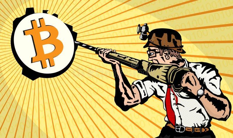 Mineiro de Bitcoin ilustração royalty free