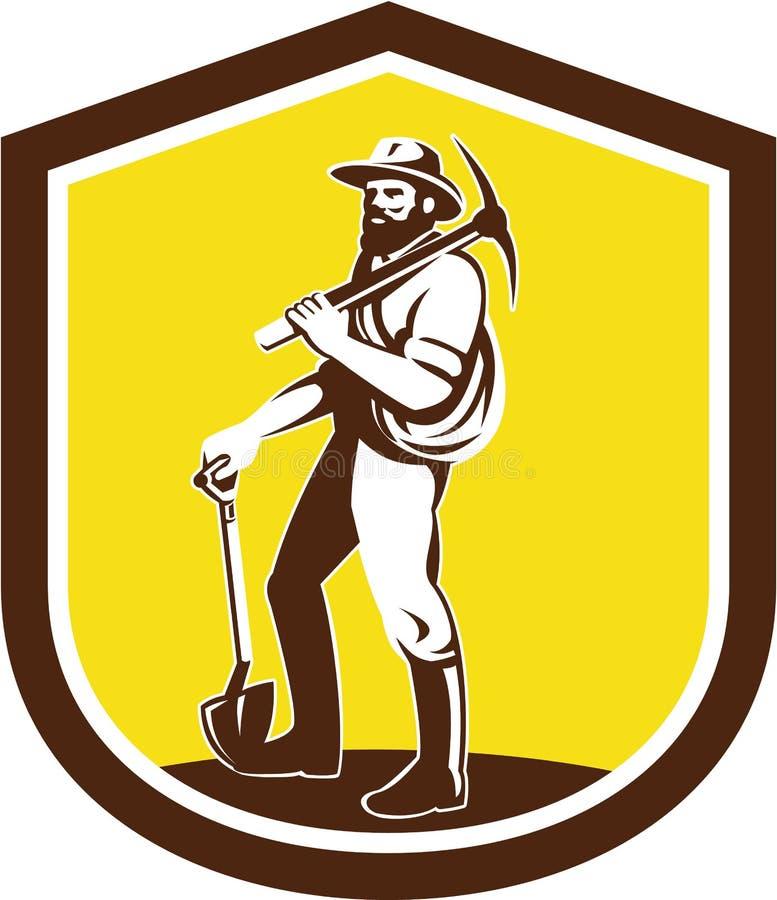 Mineiro de carvão Carry Pick Axe Shoulder Retro ilustração stock