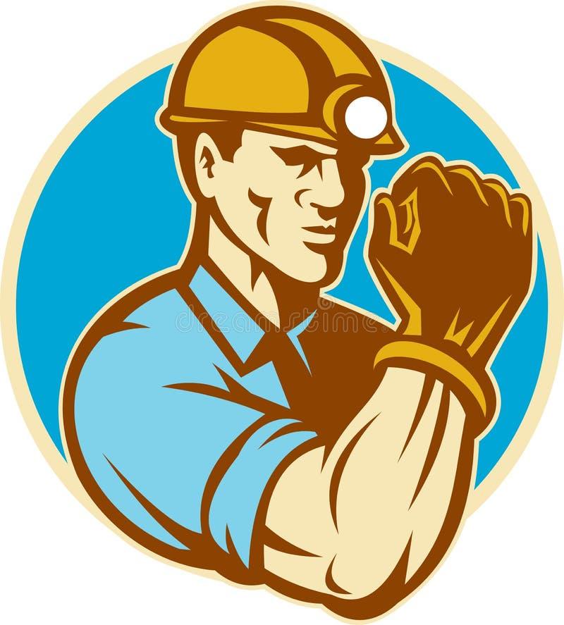 Mineiro de carvão com o punho apertado retro ilustração do vetor