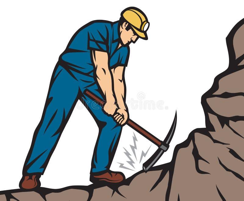 Mineiro de carvão seguro With Pick Axe ilustração do vetor