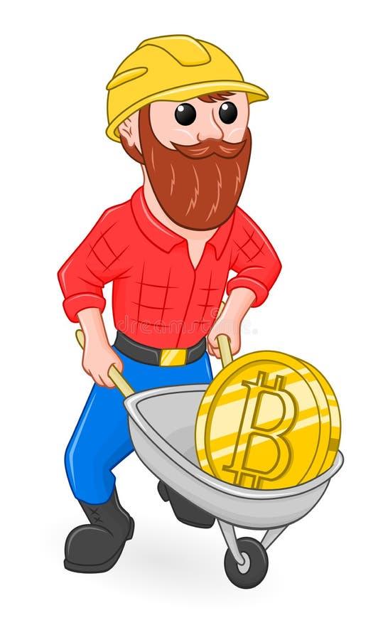 Mineiro e bitcoin dos desenhos animados ilustração do vetor