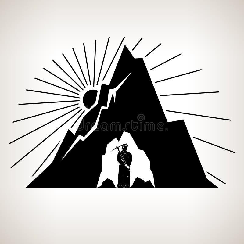 Mineiro e montanha da silhueta ilustração stock