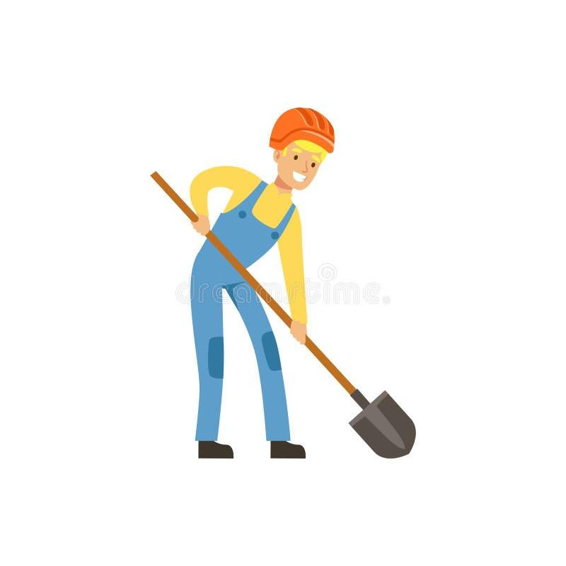 Mineiro masculino no uniforme que trabalha com pá, mineiro profissional no trabalho, ilustração do vetor da indústria carbonosa ilustração stock