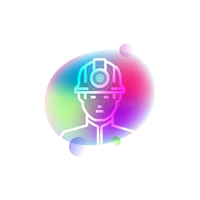 Mineiro no ícone do néon do casque ilustração do vetor