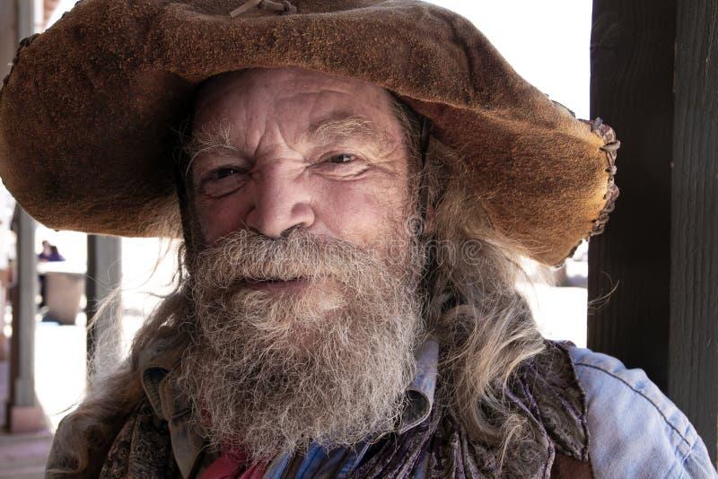 Mineiro ocidental selvagem idoso Character do vaqueiro fotos de stock