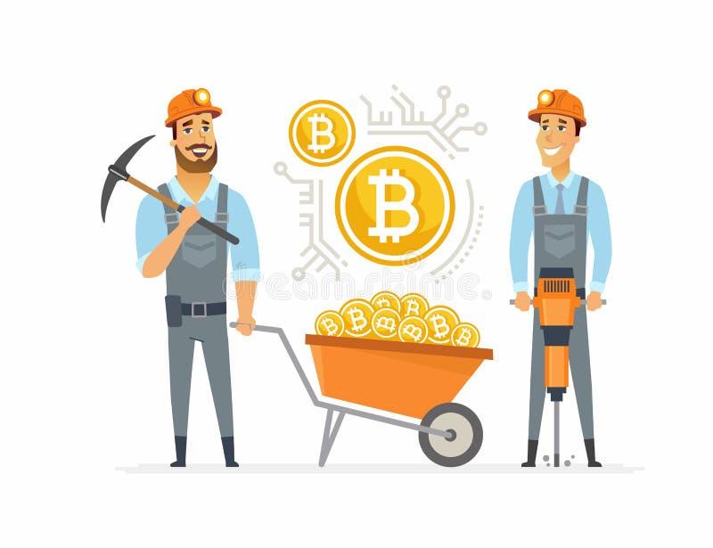 Mineiros de Bitcoin - o caráter dos povos dos desenhos animados isolou a ilustração ilustração stock