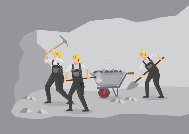 Mineiros de carvão que trabalham na ilustração do vetor da mina subterrânea ilustração do vetor