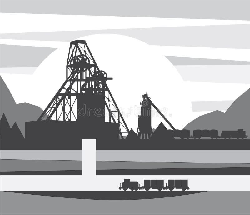 Minen är i snittet, illustration royaltyfri illustrationer